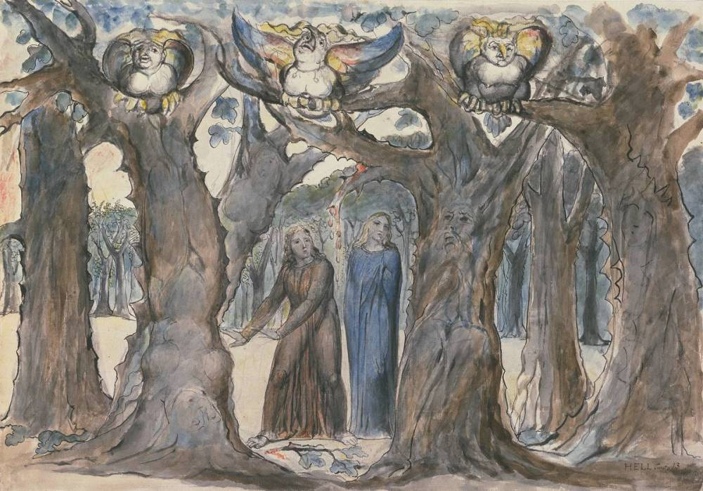 The Wood of the Self-Murderers: The Harpies and the Suicides 1824-7 William Blake 1757-1827 Purchased with the assistance of a special grant from the National Gallery and donations from the Art Fund, Lord Duveen and others, and presented through the the Art Fund 1919 http://www.tate.org.uk/art/work/N03356
